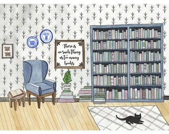 Too Many Books - Watercolour Quote Art Print