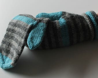 Grey and Turquoise Hand Knitted Wool Mittens