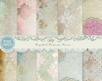 ON SALE Digital Papers pack, 12x 12 in 300 dpi vol.53 - INSTANT Download