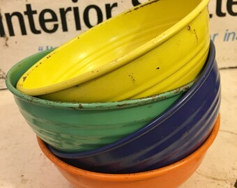 Vintage Fiesta Go Along Metal Popcorn Bowls- Free Shipping