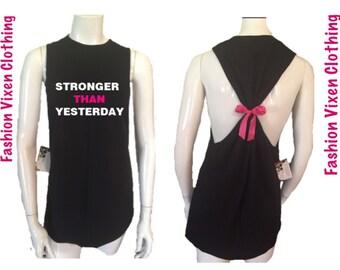 Fashion Vixen Stronger than Yesterday Workout Gym Tank Top S M L XL Plus Size 1x 2x 3x 4x 5x