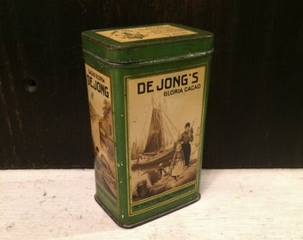 Small Rare De Jong's Gloria Cacao Cocoa Antique Tin Box, Vintage Dutch Advertising Tin