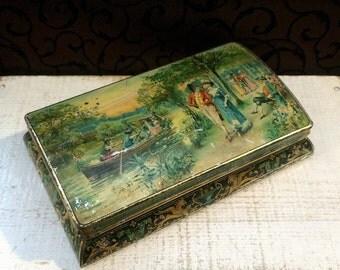 1896 Antique Biscuit Tin, Romantic Trinket Box, Huntley & Palmers Midsummer, Vintage Tin Box, Beautiful Artwork