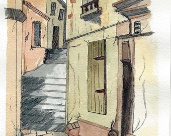 Original Pen and Ink with Watercolor Painting - An Old, Narrow, Medieval European Street Scene - Urban Sketching Style