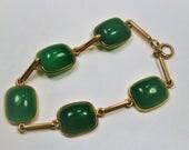 """RESERVED 14Kt Gold and Jade Link Bracelet, Vintage Jade Bracelet, 7 1/2"""" long, 1940's, Jade Bracelet, Gold Link Bracelet, Green Bracelet"""