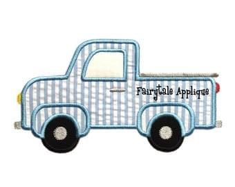 Digital Machine Embroidery Design - Pickup Truck Applique