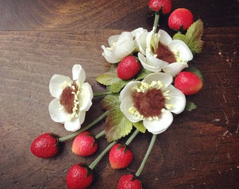 "Strawberry Headpiece, Berry Fascinator, Vintage Hair Flowers for Women, Red Hair Clip White Floral 1930s 1940s 1950s - ""Strawberries & Cream"