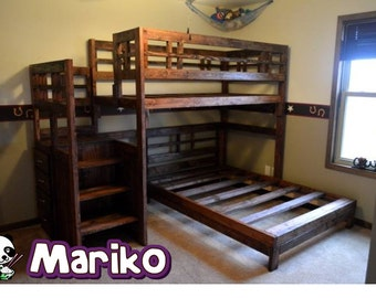 Handmade real wood twin loft bed with separate lower full bed with stair case dresser- Mariko Bed