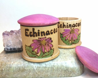 Echinacea Jar Pretend Play // Waldorf Play Apothecary Toy // Wooden Play Food // Waldorf Imaginative Play // Wooden Natural Cooking Toy