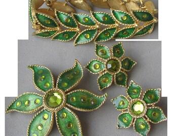 1960's Vintage Green Enamel, Rhinestone Flower & Leaf Parure, Bracelet, Earrings, Pin Set