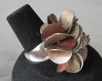 New In Box - Retired Silpada Sterling Silver, Brass, & Copper Disc Cluster Top Cha-Cha Ring Size 6