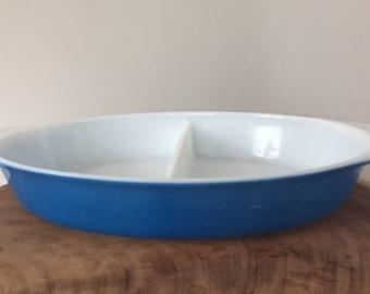 Vintage Pyrex Ovenware Blue Split Casserole 1 qt 1950s divided serving dish