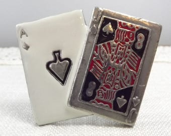 Ace and Jack of Spades Belt Buckle, Vintage Enamel on Silver Tone Metal Buckle to Enhance Your Luck~ with Cards or Ladies?!?!