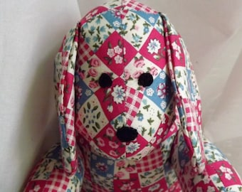 Puppy Dog printed Pink Blue & Cream Small Square Patchwork - Handmade