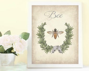 Bee Art Bee Bathroom French Bee print Vintage Bee Decor Cottage Chic art print Bedroom Print Shabby Chic wall decor Garden print insect art