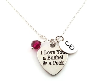 I Love You A Bushel & A Peck- Silver- Swarovski Birthstone - Personalized Initial Necklace - Sterling Silver Jewelry - Gift for Her