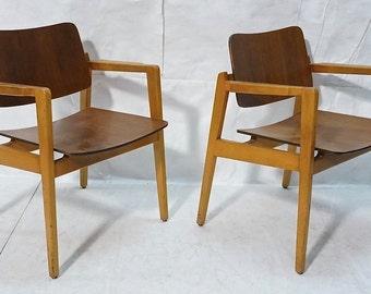 PR Walnut Jens Risom Arm chairs 1956