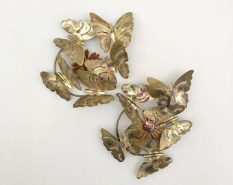 vintage wall butterfly sculpture metal gold brutalist