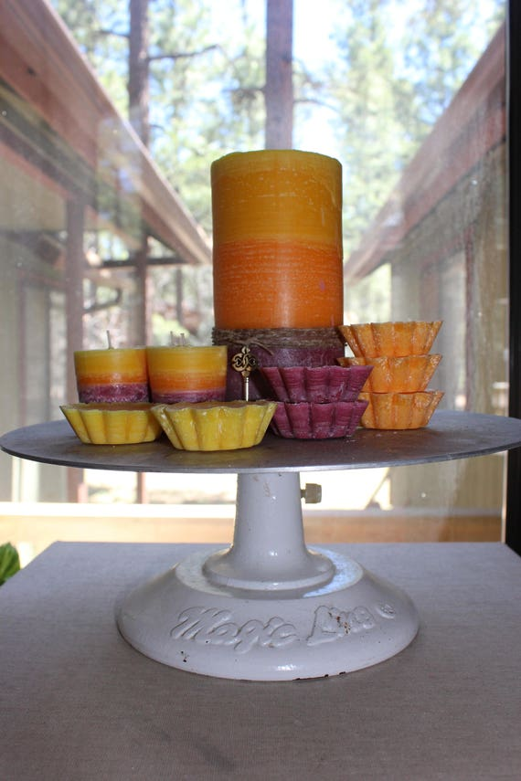 All The Cake! Layered 100% Palm Pillars or votives or melts-Red Velvet, Carrot & Lemon Bunt Cake Scents-Pick a size