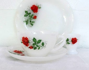 Arcopal milk glass breakfast set for 2 of side plate, large cup and saucer, and egg cup with the lovely pink rose floral motif