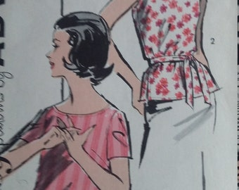 Vintage Advance 2809 Sewing Pattern Size 14 1960s Blouses