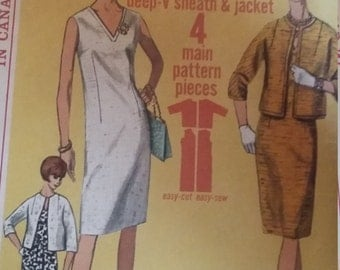Vintage Simplicity 5959  Sewing Pattern Size 12 Jiffy Dress and Jacket