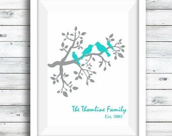 Personalised Family tree, Bird Print, Family print, Mother's Day Gift, personalised print, Gift for her, Family Tree, Valentines day