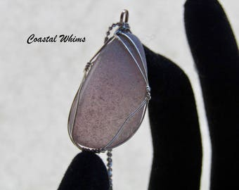 Lavender Sea Glass Sterling Silver Pendant. Genuine Maine Purple Sea Glass Sterling Silver Wrapped Pendant, Eco Friendly Maine Made Jewelry