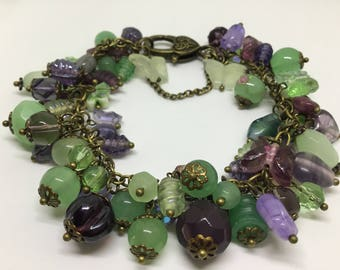 Burgundy Plum , Lilac , and Green Charm Bracelet.