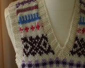 Pure Merino wool hand knitted retro Fair Isle design vest/tank top/pullover - three sizes