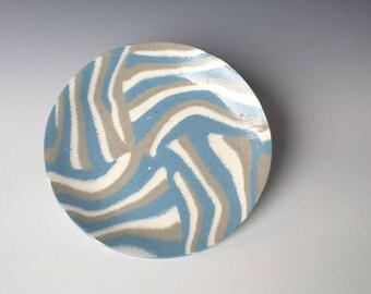 Cocktail Plate, Charcoal & Ocean Blue, Handmade Ceramic Plate
