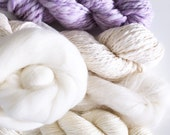 Weavers | Dyers Yarn Pack . Natural Undyed Yarns . Crochet Knitting Weaving Dyeing . Merino . Mohair . Lace . Cotton . Roving