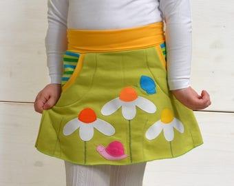 Girl daisies skirt,spring green skirt,butterflies and daisies,appliqué skirt,kids spring,spring fashion,girl toddler,green jersey,stripes