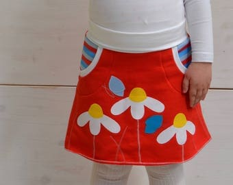 Girl daisies skirt,red skirt,butterflies and daisies,appliqué skirt,kids spring,spring fashion,girl toddler,red jersey,red blue stripes