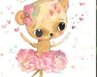 Ruby- watercolour painting, teddy bear painting, nursery art, animal art, baby gift, ballerina, original watercolour, gift for girl