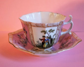 Beautiful Antique German Dresden Hand Painted Porcelain Tea Cup and Saucer