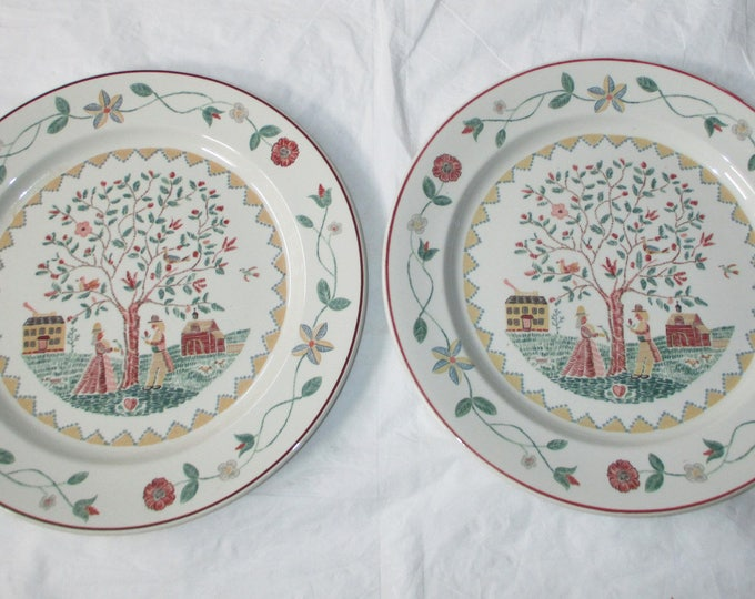 "Set of 2 Villeroy & Boch AMERICAN SAMPLER 10.5"" Dinner Plates (c. 1980s)"