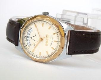 Mens Watch Raketa With Date Calendar. Rare Men's Watch 80s. Vintage Mechanical Wristwatch 19 Jewels For Men. Soviet Watch With Leather Strap