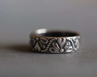 Mia: Sterling Silver, Wedding Ring, Botanical, Daisy, Modern, Minimal, Rustic, Bohemian, 7mm, Wide Band,  Made To Order