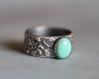 SUMMER SALE Turquoise Ring, Kingman Turquoise, Sterling Silver, Botanical, Wide Band, Bezel Setting, Rustic, Boho, Size 10