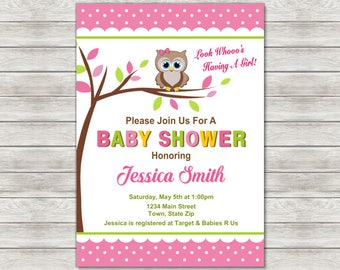Owl Baby Shower Invitation Girl - Printable File or Printed Invitations