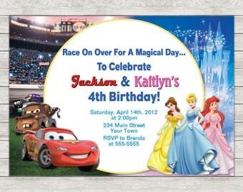 Disney Cars & Princess Birthday Invitation, Joint Twin Invite - Printable File (Digital)