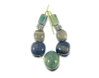 Where Sea and Sky Meet Ceramic Beads Handmade Bead Set