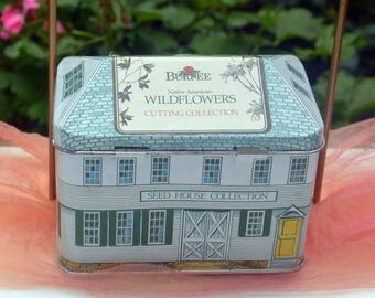 1980's Burpee Wildflower Seeds Tin Box - 10 Unused Wildflower Packets - Plant Flowers, Tin for Decor, Storage, Gifting - Vintage - Fabulous!