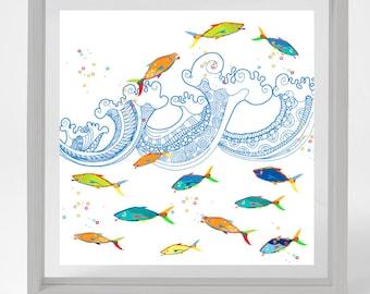 Fish Print Abstract Art Kids Bathroom Art Kids Bathroom Decor Beach Art