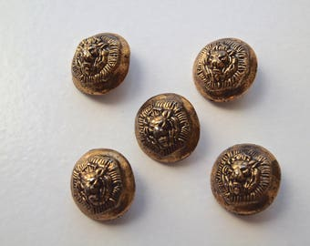 VINTAGE Antiqued Gold Lion Head Metal Shank Buttons Set of 5