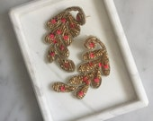 Vintage Indian Pink and Gold Beaded Statement  Earring