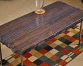 Metal leg coffee table, stained blue and burned