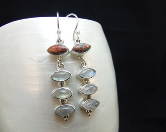 Red Fire Opal & Moonstone Sterling Silver Drop Earrings