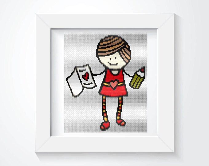 Mini Cross Stitch Pattern PDF, Embroidery Chart, Art Cross Stitch, Mary Jane Series: My Valentine (TAS058)